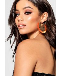 Boohoo - Orange Bella Boho Filigree Fringed Tassel Earrings - Lyst