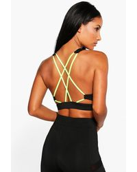 Boohoo - Black Ava Fit Strappy Back Sports Bra - Lyst