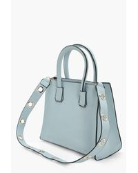 Boohoo - Blue Leila Structured Eyelet Strap Mini Cross Body - Lyst