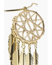 Boohoo - Metallic Dreamcatcher Feather Arm Cuff - Lyst