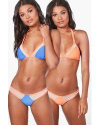 Boohoo - Orange Venice Mesh Insert Reversible Triangle Bikini - Lyst