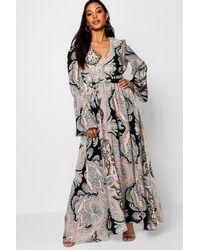 7a0cbc3d46 Boohoo Beth Bohemian Tie Waist Maxi Dress in Black - Lyst