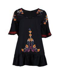 Boohoo - Black Petite Embroidered Flare Sleeve Smock Dress - Lyst
