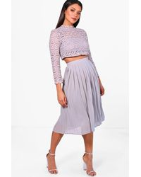 e0609ea8af Boohoo Boutique Lace Top And Midi Skirt Set in Gray - Lyst