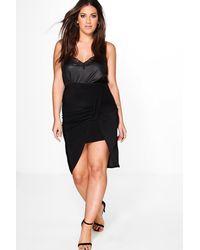 Boohoo Black Plus Ivy Asymmetric Ruched Detail Mini Skirt