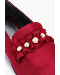 Boohoo - Red Louisa Pearl & Frill Trim Loafers - Lyst