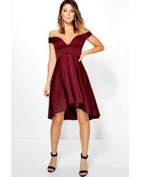 Lyst - Boohoo Oana Off Shoulder Sweetheart Skater Dress in Red 97d4495dc