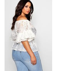 Boohoo - Red Plus Off The Shoulder Wide Sleeve Top - Lyst