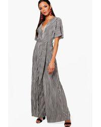 Boohoo - Black Plunge Plisse Stripe Culotte Jumpsuit - Lyst