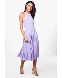 Boohoo - Purple Pam Slinky Halterneck Midi Skater Dress - Lyst