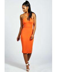 Boohoo - Orange Clara Strappy Detail Bodycon Midi Dress - Lyst