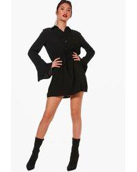 Boohoo - Black Drawcord Waist Fluted Sleeve Shirt Dress - Lyst