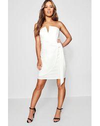 Boohoo - White Petite V-bar Detail Wrap Tie Mini Dress - Lyst