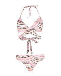 Boohoo - Multicolor Menorca Neon Aztec Triangle Wrap Bikini - Lyst