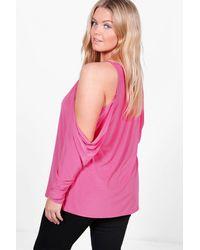 Boohoo - Pink Plus Lace Trim V Neck Cold Shoulder Top - Lyst