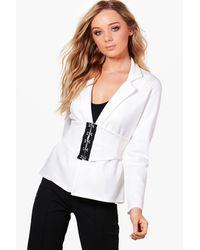 Boohoo - White Kareena Corset Belt Tailored Blazer - Lyst