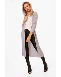 Boohoo | Gray Holly Maxi Cardigan | Lyst