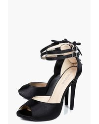 Boohoo | Black Annie Satin Lace Back Peeptoe Two Part | Lyst