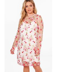 Boohoo - White Plus Embroidered Mesh Shift Dress - Lyst