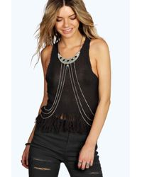 Boohoo | Black Anna Collar Stone Body Chain | Lyst