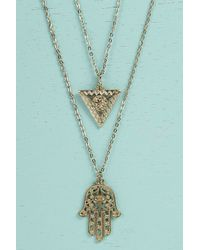 Boohoo - Metallic Lexi Hamsa Hand Layered Necklace - Lyst