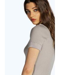 Boohoo - Black Rose Turn Up Cuff Short Sleeve Rib Jumper - Lyst
