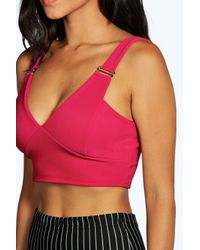 Boohoo - Pink Kim Buckle Detail Bralet - Lyst