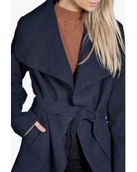 Boohoo - Blue Abigail Waterfall Coat - Lyst