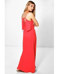Boohoo - Black Clara Tie Back Maxi Dress - Lyst