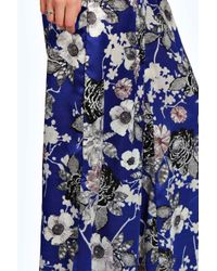Boohoo - Hilary Blue Floral Wide Leg Trousers - Lyst