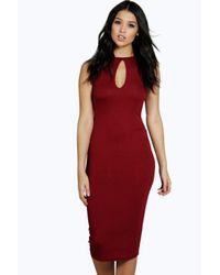 Boohoo - Red Evelyn Keyhole Detail Midi Dress - Lyst