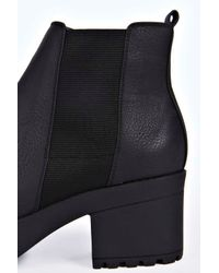Boohoo | Black Frankie Pull On Cleated Chelsea Boot | Lyst