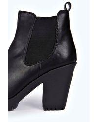 Boohoo - Black Amelia Elastic Insert Cleated Boot - Lyst