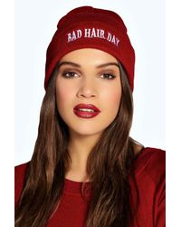 Boohoo   Red Cara Bad Hair Day Slogan Beanie   Lyst