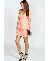 Boohoo - Pink Ria Off The Shoulder Peplum Dress - Lyst