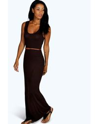 Boohoo - Black Laura Racer Back Maxi Dress - Lyst