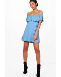 Boohoo - Blue Frill Detail Off The Shoulder Swing Dress - Lyst