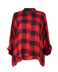 Boohoo - Red Ella Check Oversized Swing Shirt - Lyst