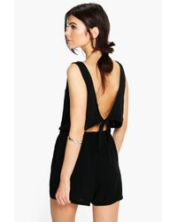 Boohoo   Black Helen Tie Back Relaxed Fit Playsuit   Lyst