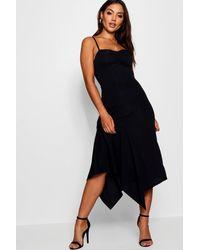 Boohoo - Black Ruched Cami Asymmetric Midi Dress - Lyst