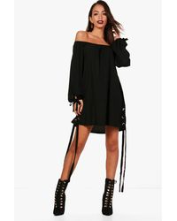 Boohoo - Black Off Shoulder Eyelet Shift Dress - Lyst