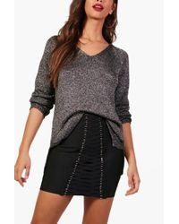 Boohoo - Gray Metallic Twisted Knitted Jumper - Lyst