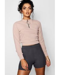 Boohoo - Multicolor O Ring Zip High Neck Top - Lyst