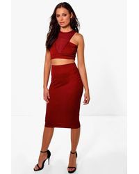 2e94a1b1796 Lyst - Boohoo Nadia Mesh Detail Crop & Midi Skirt Co-ord Set in Red
