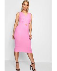 943650b3df95 Lyst - Boohoo Plus Scallop Cut Out Midi Dress in Pink