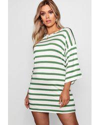 b8dfd0b697aec Boohoo Plus Scoop Neck Striped T Shirt Dress in White - Lyst