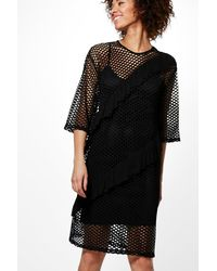 Boohoo | Black Rachel Ruffle Detail Mesh Shift Dress | Lyst