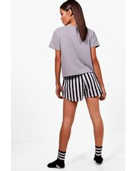Boohoo - Gray Bacon & Eggs Pj Short Set - Lyst