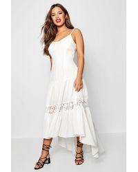 e44a5c581d5 Boohoo Petite Lace Panel Drop Waist Maxi Dress in White - Lyst