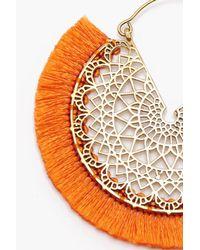Boohoo - Orange Bella Boho Filigree Fringed Tassel Earrings - Lyst